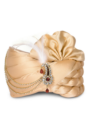 Beige Wedding Groom Turban - Desi Royale