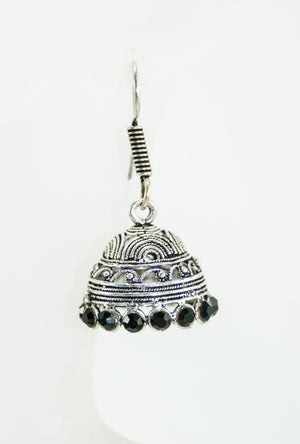 Black metal earrings with black stones - Desi Royale