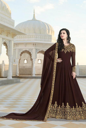 Coffee Brown Anarkali Suit - Desi Royale
