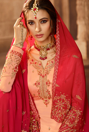 Light Peach and Red Sharara Salwar Kameez - Desi Royale