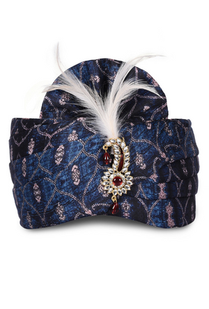 Navy Blue Satin Wedding Groom Turban - Desi Royale