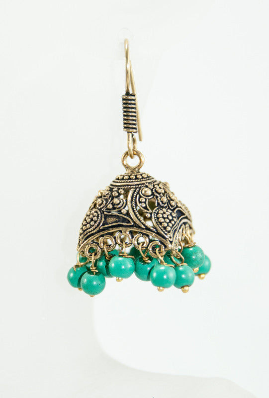 Gold earrings with green beads - Desi Royale