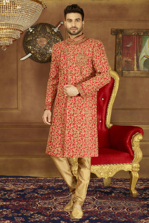 Red and Gold Mens Sherwani - Desi Royale