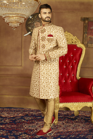 Gold Mens Sherwani - Desi Royale