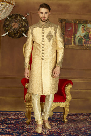 Beige and Gold Mens Sherwani - Desi Royale