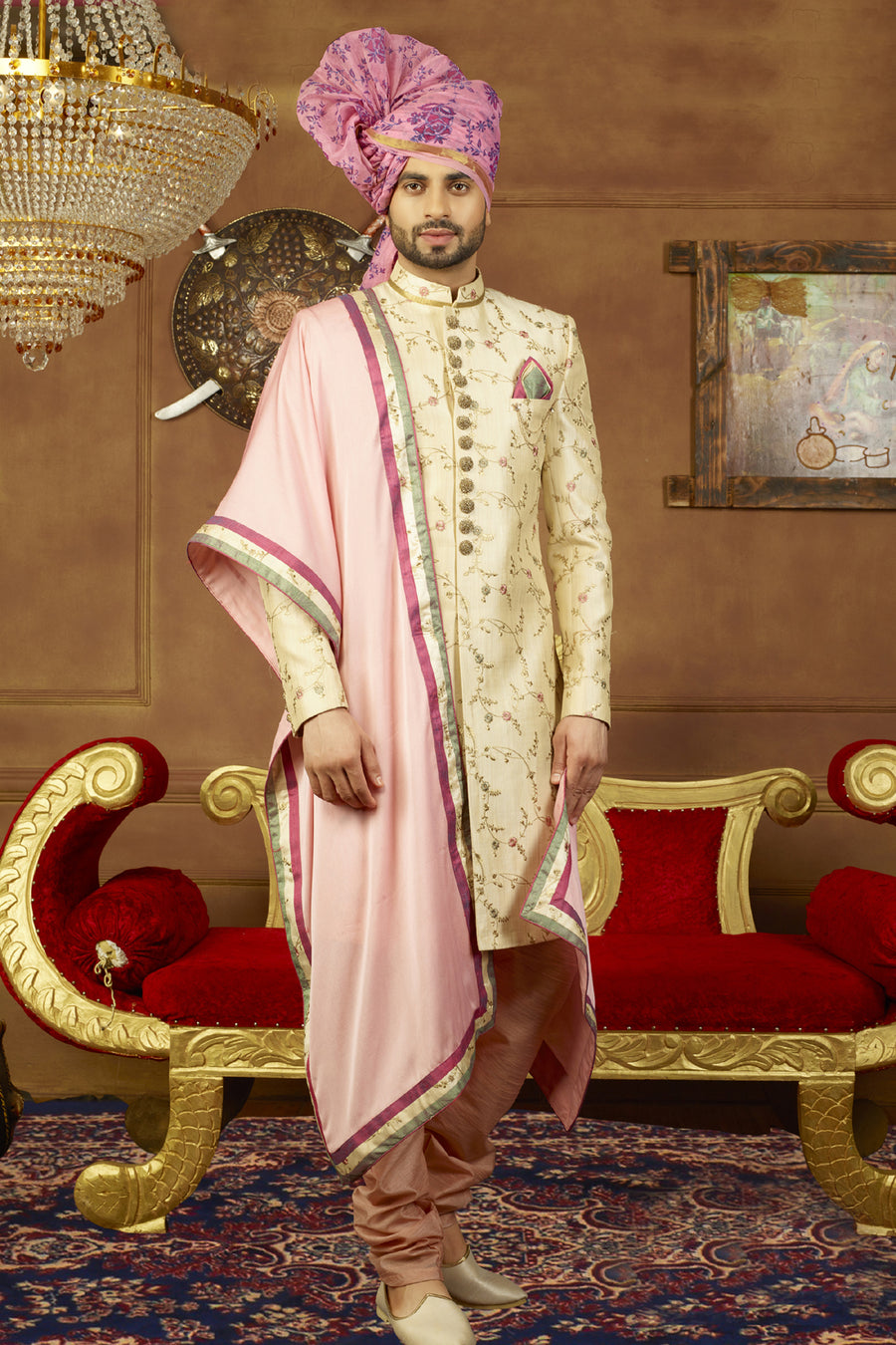Cream and Peach Mens Sherwani - Desi Royale
