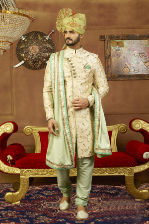 Cream and Green Mens Sherwani - Desi Royale