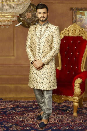 Gold and Silver Mens Sherwani - Desi Royale