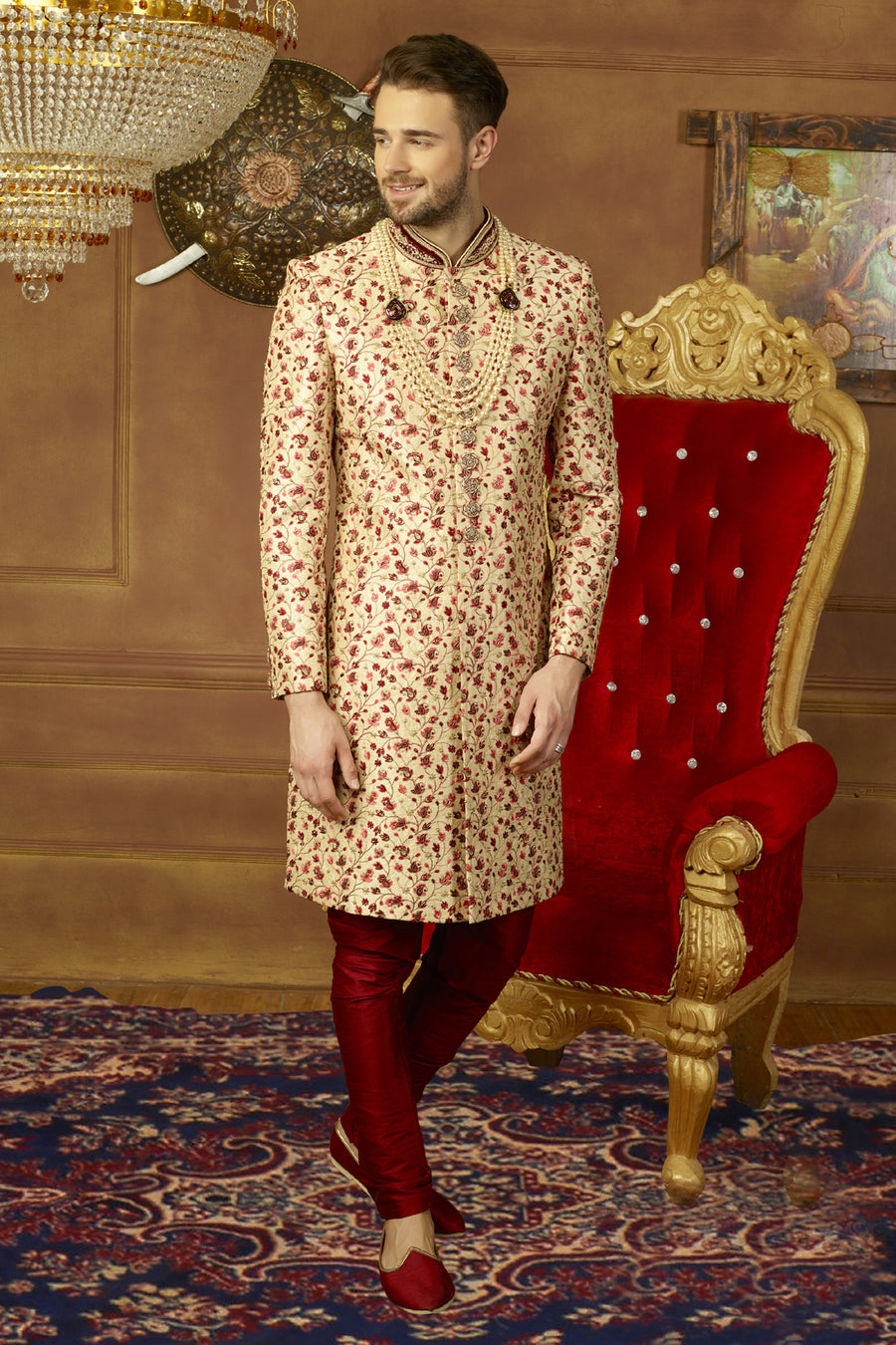 Beige and Maroon Mens Sherwani - Desi Royale