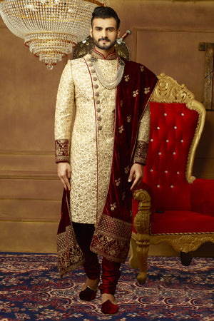 Gold and Maroon Mens Sherwani - Desi Royale