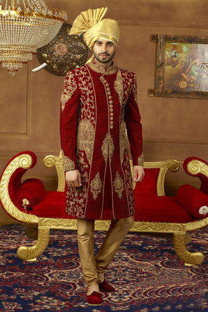 Maroon and Gold Mens Sherwani - Desi Royale