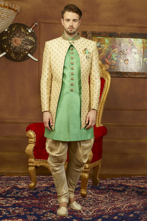 Sea green and Beige Mens Sherwani - Desi Royale