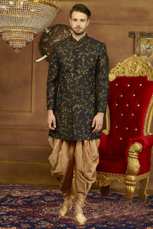 Black and Gold Mens Sherwani - Desi Royale