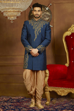 Blue and Gold Mens Sherwani - Desi Royale