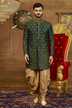 Green and Gold Mens Sherwani - Desi Royale