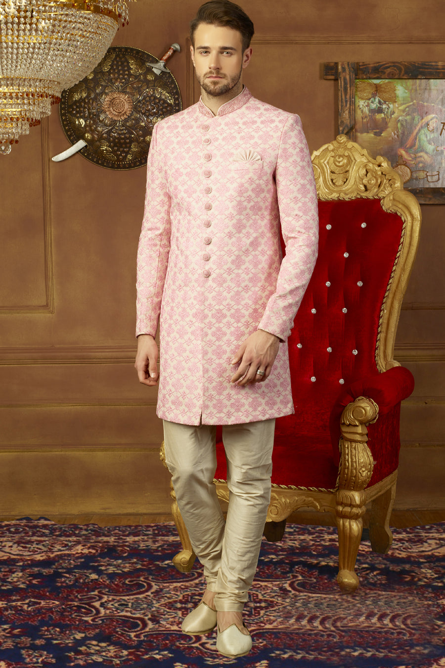 Pink and Off White Mens Sherwani - Desi Royale