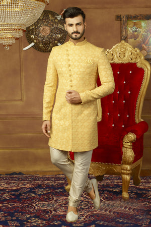 Yellow and Off White Mens Sherwani - Desi Royale