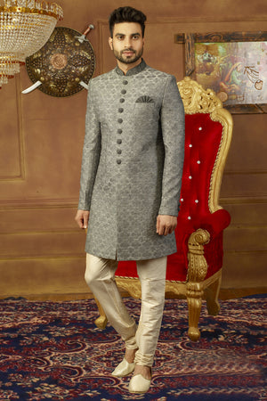 Grey and Off White Mens Sherwani - Desi Royale