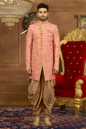 Rose Pink and Gold Mens Sherwani - Desi Royale