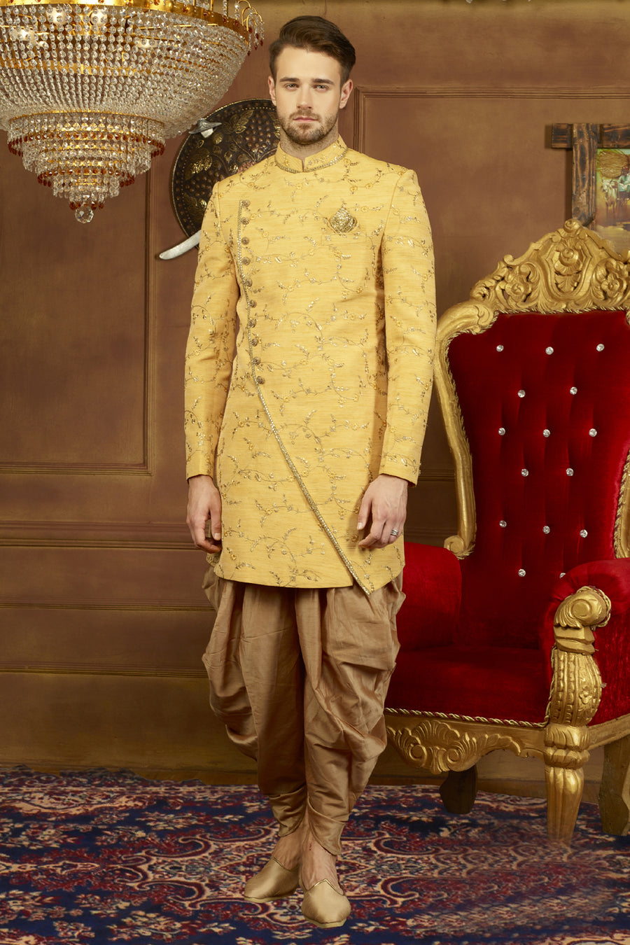Yellow and Gold Mens Sherwani - Desi Royale