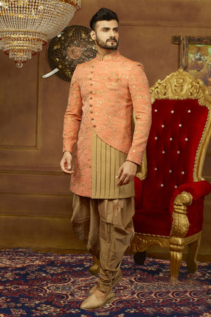Peach and Gold Mens Sherwani - Desi Royale