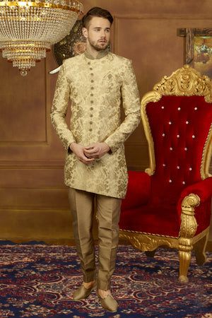 Gold and Cream Mens Sherwani - Desi Royale