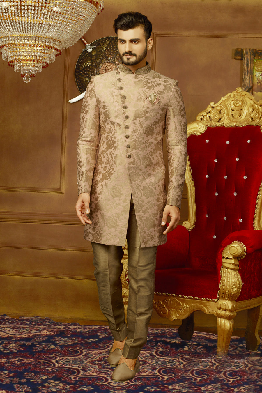 Rose Gold Mens Sherwani - Desi Royale