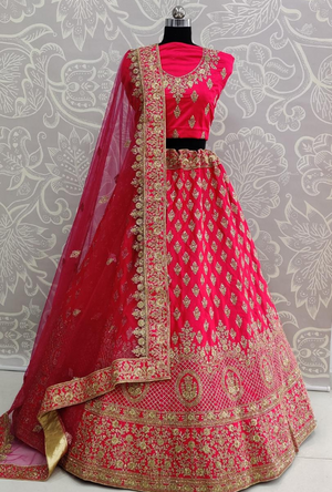 Hot Pink Bridal Lehenga Choli