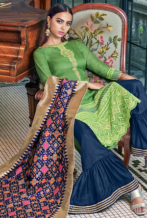 Green and Blue Salwar Suit - Desi Royale