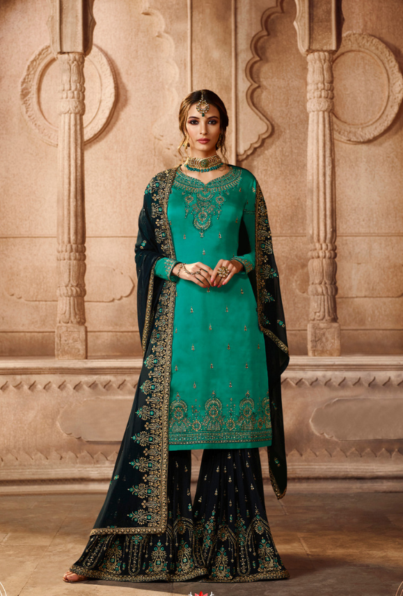 746b9b4f5b Green and Navy Blue Sharara Salwar Kameez - Desi Royale