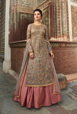 Grey Bridal Sharara and Lehenga - Desi Royale