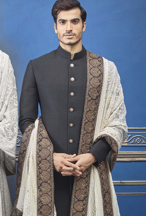 Black and off white Mens Sherwani