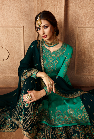 Green and Navy Blue Sharara Salwar Kameez - Desi Royale