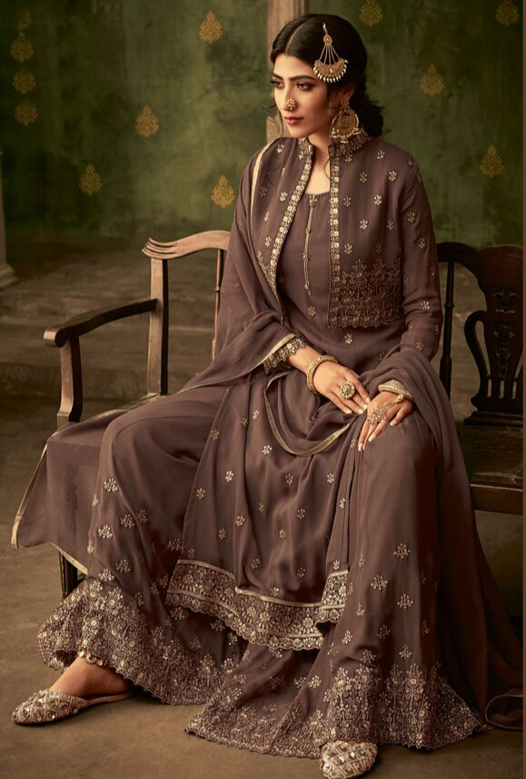 Coffee Sharara Suit - Desi Royale