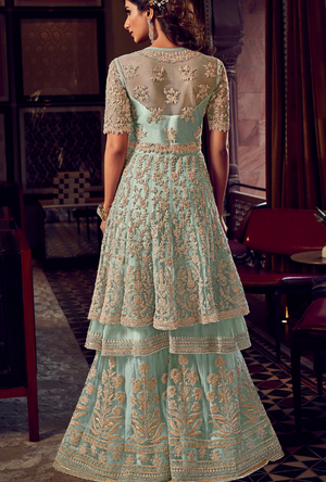 Sky Blue Sharara Suit