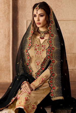 Beige and Black Sharara Salwar Kameez - Desi Royale
