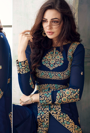 Blue Designer Anarkali Suit - Desi Royale