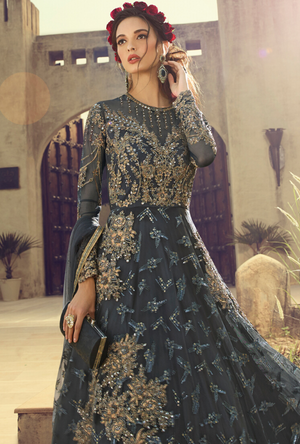 Charcoal Grey party wear gown - Desi Royale