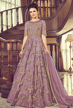 Purple Anarkali Suit - Desi Royale