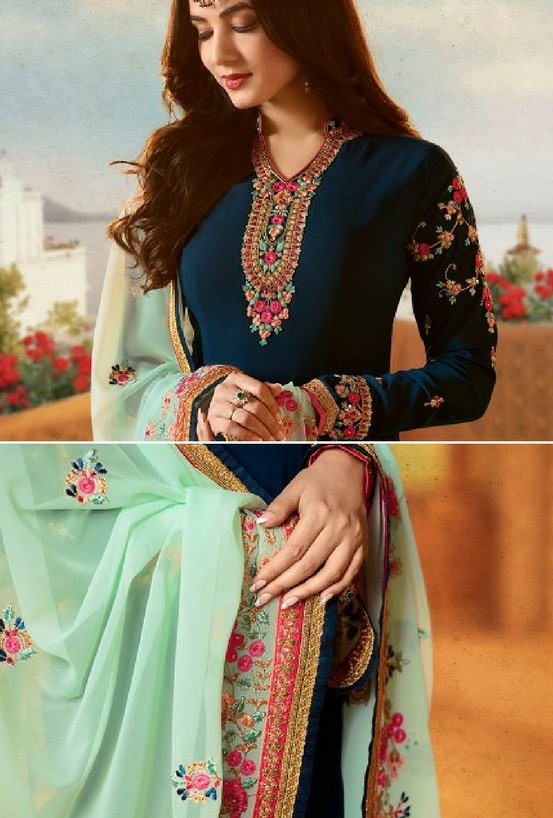Blue Embroidered Suit - Desi Royale