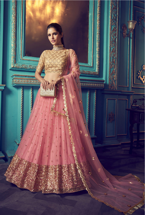 Pink and Gold Lehenga Choli