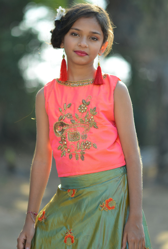 Kids Pink and Green Lehenga Choli - Desi Royale