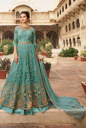 Sea Blue Bridal Anarkali Suit - Desi Royale
