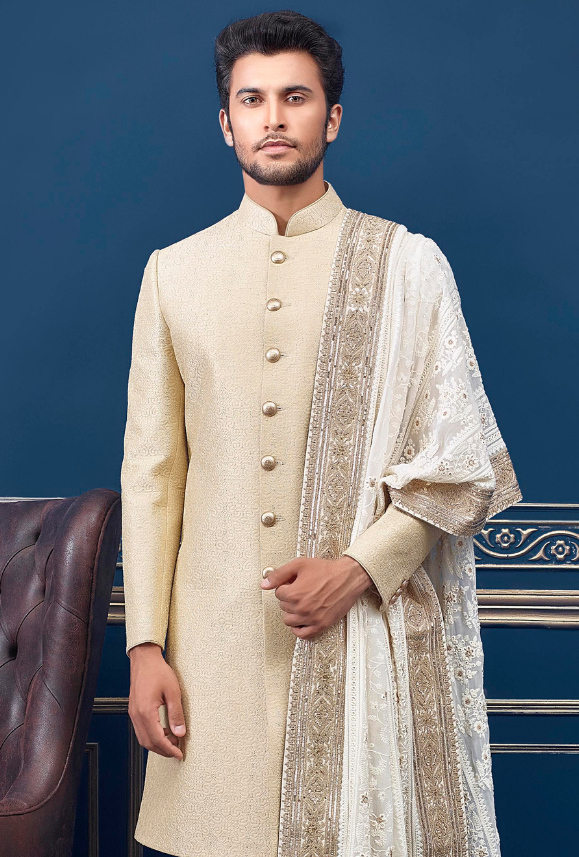 Cream and Off White Mens Sherwani