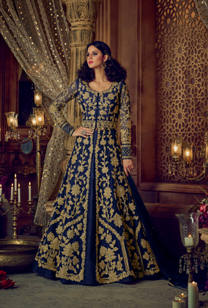 Blue Embroidered Anarkali Dress - Desi Royale