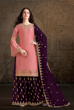 Peach and Purple Palazzo Suit - Desi Royale