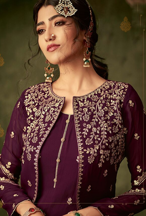 Purple Sharara Suit - Desi Royale