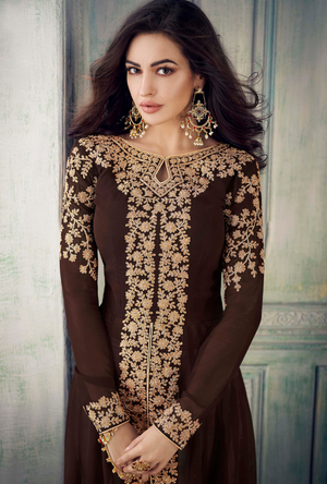 Brown Designer Anarkali Suit - Desi Royale