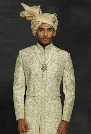 Beige and Pista Mens Sherwani