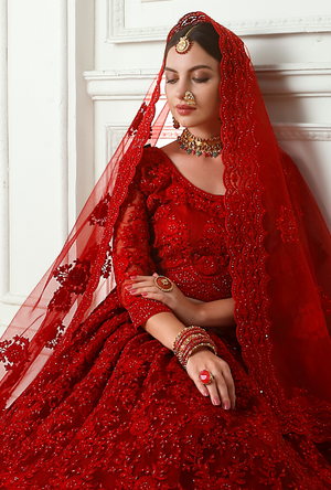 Red Lehenga Choli - Desi Royale